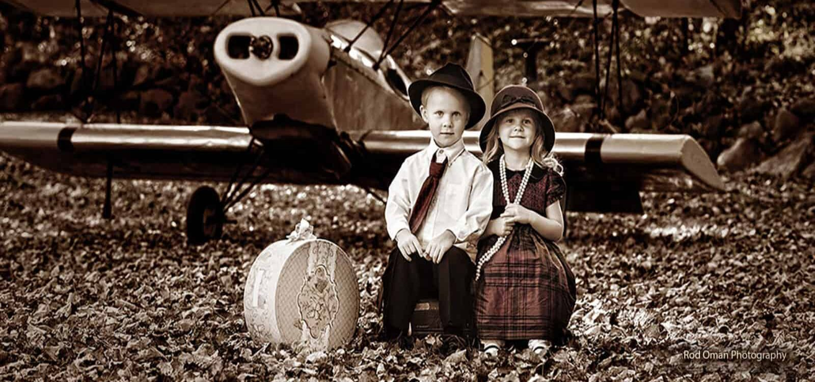 Kids with Bi Plane Photo